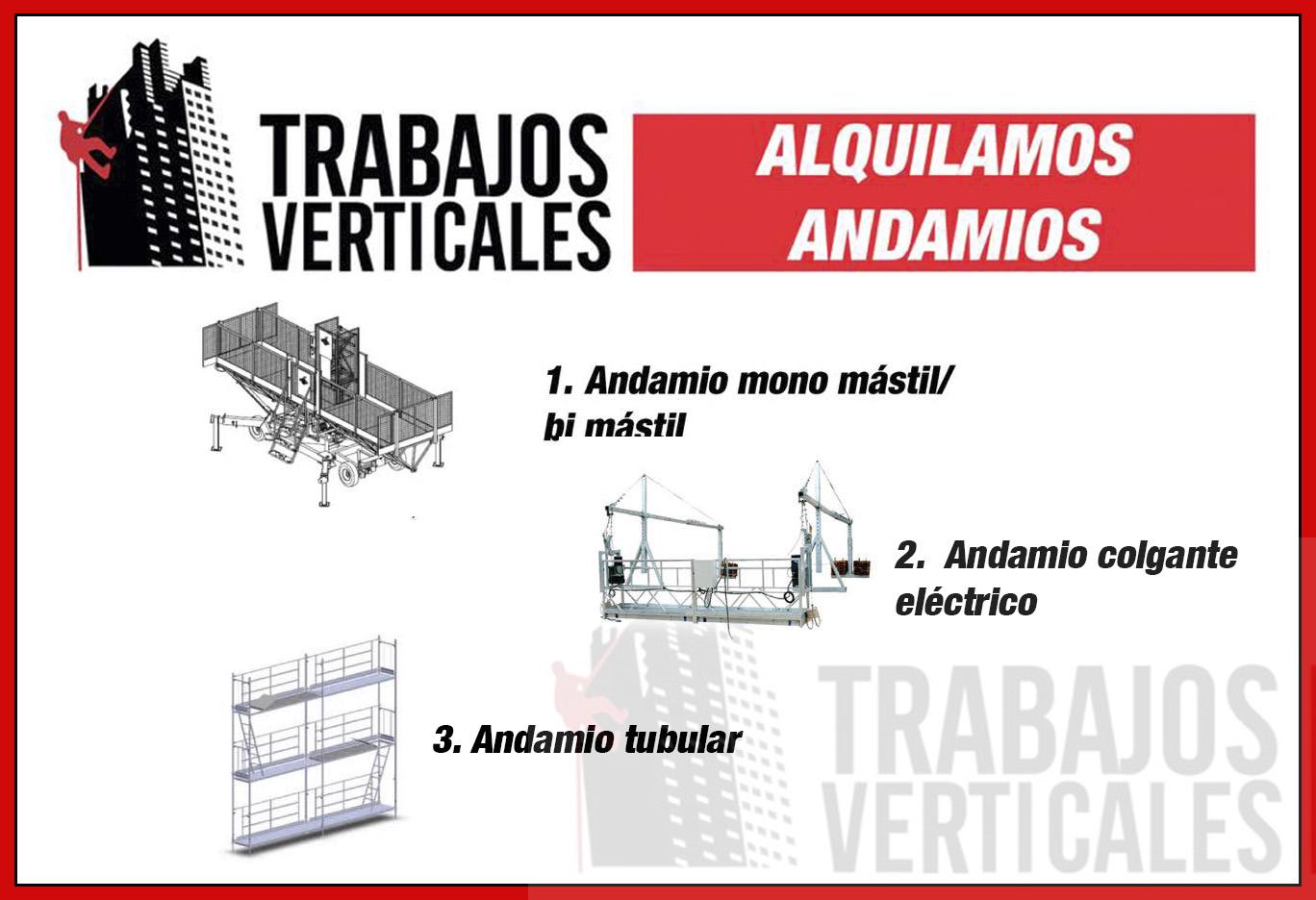 mostramos los andamios de alquiler de trabajos verticales palma
